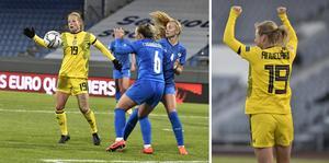 Anna Anvegård gjorde Sveriges mål mot Island. Foto: Janerik Henriksson/TT
