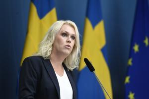 Socialminister Lena Hallengren vid en tidigare pressträff.