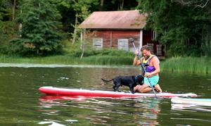 Hunden Toker fick testa att åka med Tomas Wahlgren på brädan.