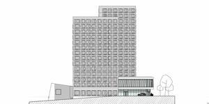 Så här ser Stadsrums och Fojab arkitekters nya skiss på hotellet vid Marenplan ut.