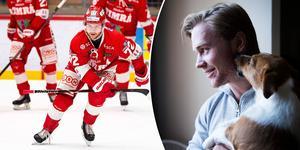 Sebastian Ohlsson fortsätter i rött och vitt, forwarden har skrivit på ett nytt kontrakt med Timrå IK. Bilder: Pär Olert/Bildbyrån och Eric Westlund/ST arkiv