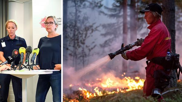 Myndigheten för samhällsskydd och beredskap höll pressträff även på måndagen (bilden till vänster). Runt om i landet bekämpas flera skogsbränder, som i Brattsjö utanför Örnsköldsvik (bilden till höger). Bild:  Hossein Salmazadeh/TT & Erik Mårtensson