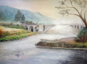 Västerbron, målning av Arbogakonstnären  Maria Widlund. Målningen var förstavinst 2017 i Lions Club Arbogas Lucialotteri.