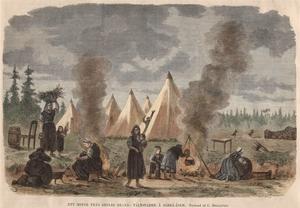 Ett minne från branden,  tältstaden på Särååsen. Tecknad ev C. Hellqvist. Tryck av trägravyr 1869 och handkolorerad.