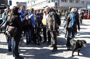 går och går. Gert Fylking och Robert Aschberg hade följe av ett 40-tal människor när de i går vid lunchtid kom till Gävle. Vid Rådhustorget överlämnades checkar från föreningar och allt filmades av ett tv-team.