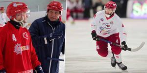 Patrik Johansson med Alexei Diakov som tvingades lämna två gånger under samma säsong. Bild: Igor Gavrilov (HC Start press) / Andreas Tagg