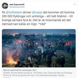 Skärmdump från twitter. Nationalekonomen Isak Kupersmidt förklarar hur man inte kan blanda ihop beviljade tillstånd med ansökningar etc.