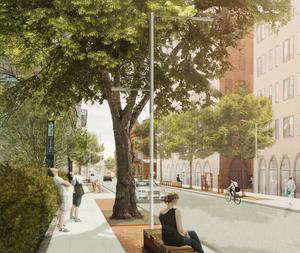 Biltrafik kommer förmodligen tillåtas men gångstråken ska bli tydligare. Mellan dem och gatan ska det bli så kallade möbleringszoner som markeras med tegel som bryter av mot asfalt och betong. I zonerna kan man ha exempelvis belysning, träd och sittplatser. Skiss: Nivå landskapsarkitektur