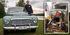 Hampus Granström har totalrenoverat en Volvo PV i fyra år. I dag, måndag, fyller han 18 år.