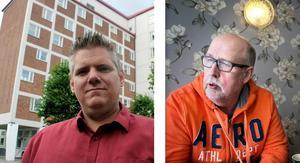 Lars Handegard (V) och Benny Rosengren (SD) motsätter sig en borgerlig bostadspolitik i Ludvika. Foto: Torbjörn Granling/Peter Ohlsson