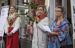 Ida Bois kulade som inledning och Kristina Svensson, ABF och Annakari Berglund talade. Foto: Henrik Hansson