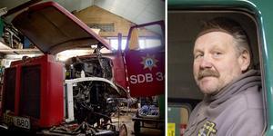 """När Lars Peterson sätter händerna i den gamla brandbilen gör det med både erfarenhet och kunnande. Nu ska den återuppstå, men i ny skepnad. """"Den här kommer bli en lastbil med kran"""", säger han."""