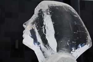 Isskulpturen, som skapats av Lena Kriström, fått sällskap av fyra damer i vitt tog två dagar att skulptera och har färdats ända från Jukkasjärvi till Västerås stadspark.