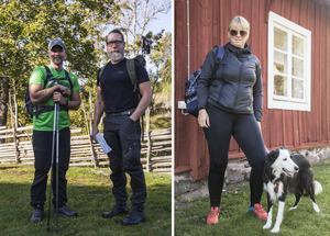 Fredrick Fischer och Ola Tamm Karlsson från Stockholm och Anna Karlsson med hunden Alice.