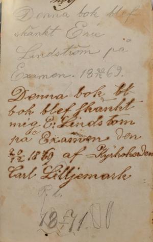 På insidan av pärmen av dagboksvolym 1, 1877-1880. Foto: Fredrik Hegert/Dalarnas museum