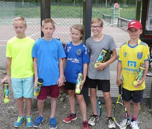 Långsands TK:s Ungdomscupspristagare med Roger Federer-bollar. Jakob Gnalin, Daniel Gnalin, Filip Köhn, Ludvig Köhn och vinnaren Hannes Grenert.