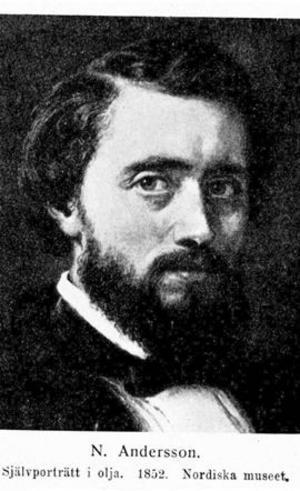 Nils Andersson, född 1817 i Östergötland. Genremålare, historiemålare, professor vid Konstakademien. Självporträtt i olja 1852. Nordiska museet.