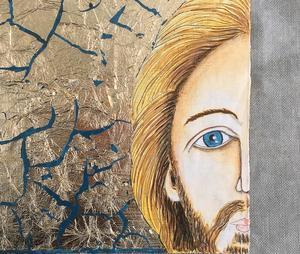 Jesus på presenning av Mats Hermansson. Pressbild