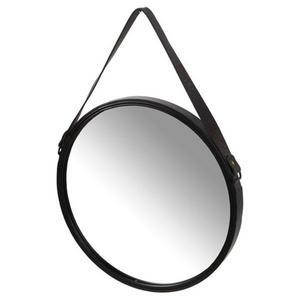 Den här runda spegeln med svart läderupphängning kostar 399 kr på Önskehuset i Borlänge.