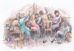 Stämningen var alltid hög på de många krogarna i Gruvbyn tror vår fantasifulle illustratör Bo Svärd.