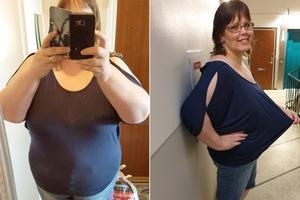 Toppen har blivit mindre åtsittande efter Anna-Lenas viktminskning. Foto: Privat