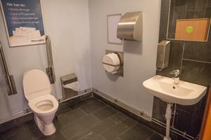 Toaletterna inne på Kringlan lider av dålig lukt men är i övrigt välstädade.