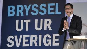 Jimmie Åkesson (SD) talar i Stockholm inför EU-valet 2014. Foto: Anders Wiklund/TT