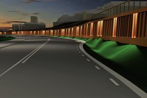 Den nya stödmuren som byggs vid infarten till Sundsvall blir omkring 300 meter lång. Bild: Trafikverket
