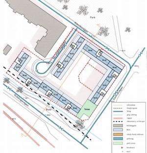 Illustrationen visar det planerade nybyggets takvåning, där lägenheterna har sadeltak och en gemensam takterass. Den planerade infarten är från Almviksvägen.  Illustration: Okidoki