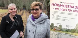 Nykvarnspartiets broschyr delas ut i 4000 postlådor i Nykvarn. Gunilla Lindstedt och Karin Wallin förklarar att deras parti vill nå kommuninvånarna direkt för att förklara det aktuella förslaget gällande Hökmossbadet och Älgbostad.