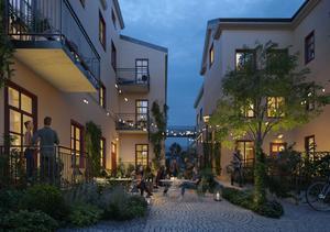 Gefle Dagblads reception och kundtjänst rivs och ger plats åt en innergård. Illustration Wester+Elsner