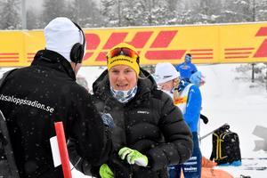 Hanna Falk vid startplatsen i Oxberg inför Tjejvasan, där hon slutde femma.
