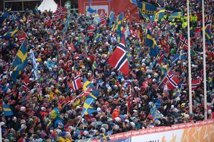 Det var stor publikfest på Lugnet under VM-dagarna. Foto: Fredrik Sandberg/TT