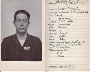 Fritz Ståhl, syndikalist och revolutionär från Frånö, Kramfors Foto: polisen