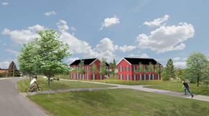 Det nya byggföretaget Ljusbo Hyreshus AB erbjuder Smedjebacken ett nytt och klimatsmart bostadskoncept. Illustration/skiss: Ljusbo Hyreshus AB