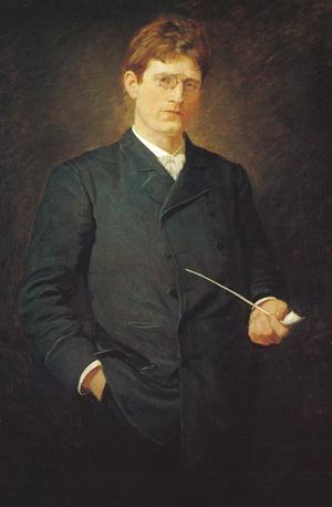 Knut Hamsun 32 år gammal 1891. Målning av Alfredo Andersen.
