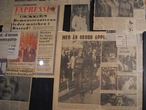 I det lilla museum som drivs av Melina Mercouri Foundation finns bland annat svenska tidningsurklipp. Foto: Lennart Götesson.