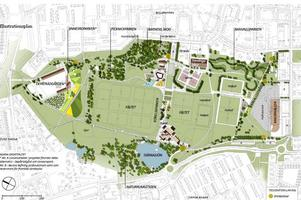 Så här kan Sportfältet utvecklas. Fem temaområden skapas. Illustration: Sweco