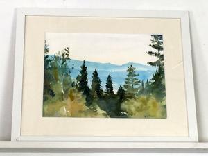"""Akvarellmålningen """"Vid Tuornimäki skogåsar"""" av Ingmar Ericson."""