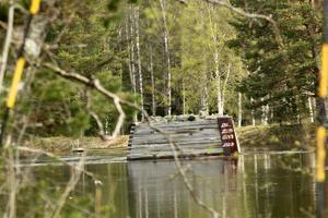Än är det en bit upp till tidigare kända höga vattennivåer vid Lerbäcken i Vansbro.