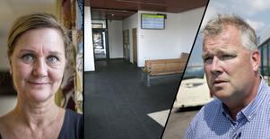 Fotomontage: Lars Dafgård/Mikael Hellsten. Fortsatt skadegörelse vid Knutpunkten – dörrar hålls  låsta: