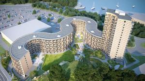 Om Magnolia Bostads projekt Fyren vid köpcentrumet Sjötelegrafen byggs under 2020, kan den komma att nomineras till Nynäshamns kommuns nästa arkitekturpris. Illustration: Magnolia Bostad