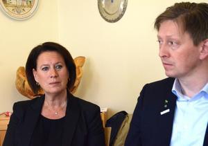 Kommunalråden Susanne Norberg (s) och Joakim Storck (c).