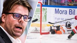 KHK-tränaren Ove Molin kritiserar tacklingen som tvingade Marcus Paulsson att kliva av matchen. Foto: Daniel Eriksson/Bildbyrån