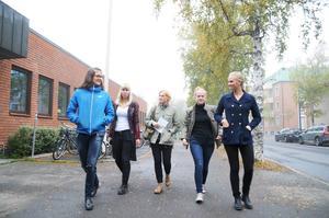 Elias Eriksson, Emelie Björnhagen, företagaren Helena Engberg, Caroline Johansson och Alice Schubert samtalar om hur man nätverkar för att nå sina mål.