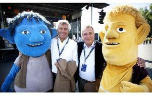 Bröderna Ulf (till vänster) och Jens Spendrups kallas för bröderna Krull. Därför fanns figurer från barnboken bröderna Krull på plats. Foto: Peter Ohlsson