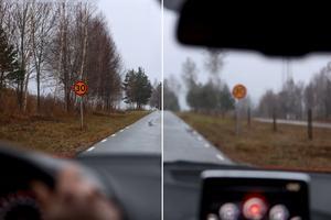 Höger sida visar en uppskattning av hur var femte bilist ser. De har en skärpa som är visus 0,5 eller sämre vilket innebär att de börjar se oskarpt på ca 1-2 meters avstånd.