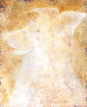 En hund avtecknar sig mot den guldaktiga bakgrunden i en av Jonna Jakobssons målningar.