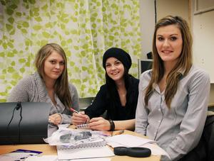 Malin Ljus, My Jönsson och Angelica Svensk driver ett av de 17 företag som just nu är aktiva på Slottegymnasiet.