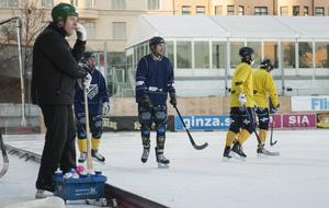 Blir det elitserien för Fredrik Larsson (i mitten) och Tellus nästa säsong? Beslutet väntas nästa vecka.